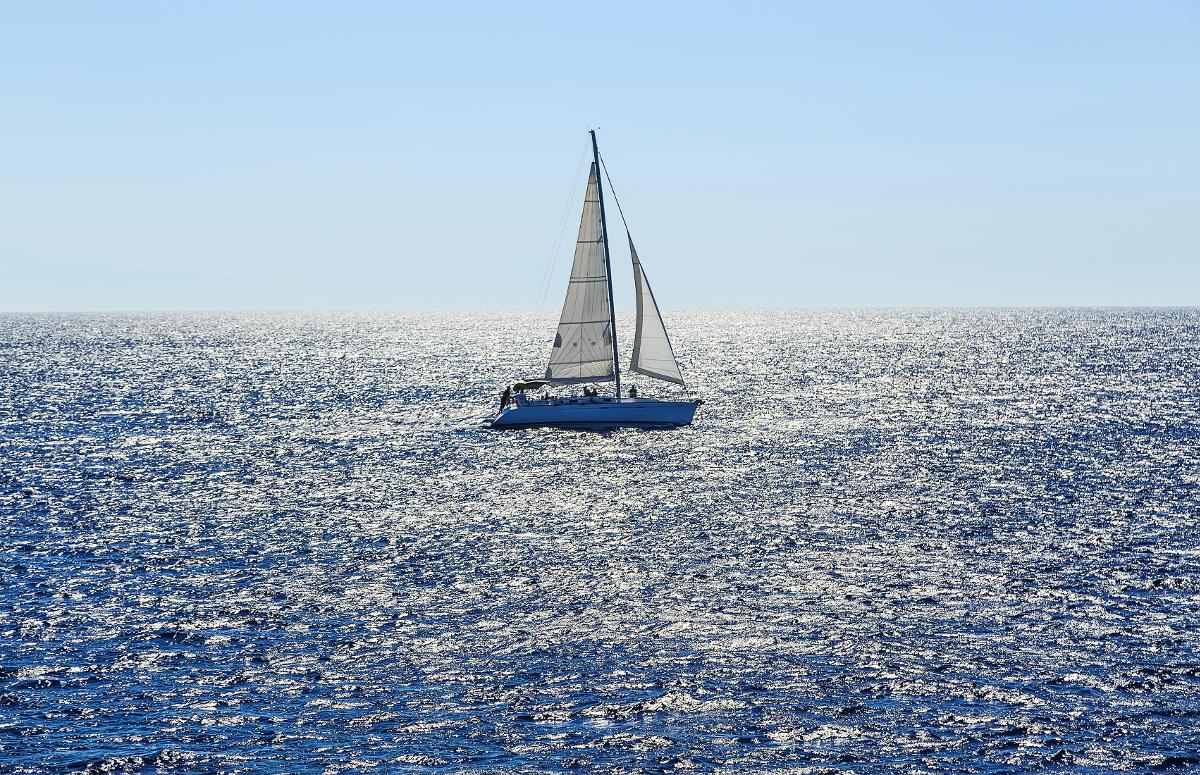 white sailing boat